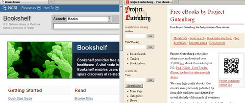 NCBI Bookshelf and Project Gutenberg