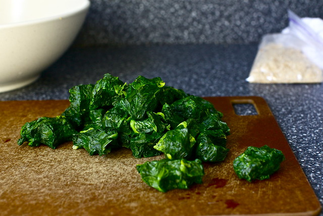 squeezed out fistfuls of spinach