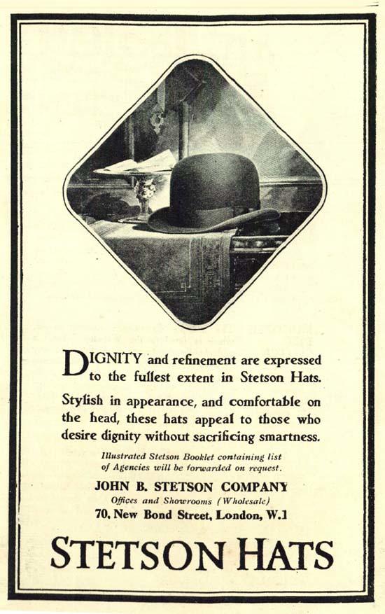 Anuncio de Sombrero Stetson de 1924