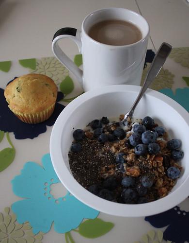 yogurt with granola, chia seeds, blueberries; jalapeno cornbread muffin; coffee