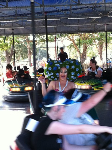 The drag queen on the #fairday dodgems is having way more fun than every1 else!