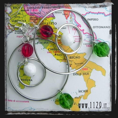 ITALIA150 orecchini tricolore rosso bianco verde 150 anniversario unita italia italy 150 anniversary earrings