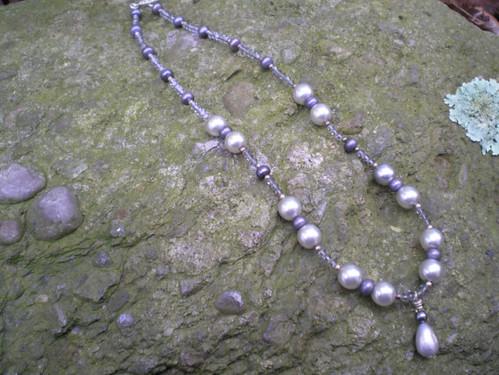 Etsy sidraf Gray Pearl & Swarovski Crystal 17in Necklace $36