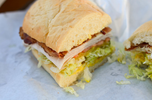 Turkey club on sour roll
