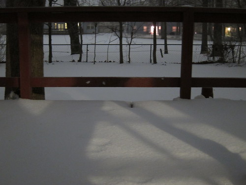 Sleet-covered deck