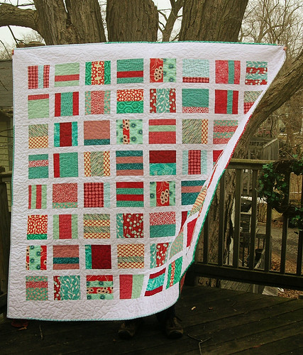 Red and Aqua Mixtape Quilt on porch