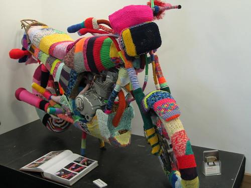 knitting covered motorbike