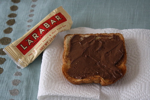 Larabar, toast with Nutella