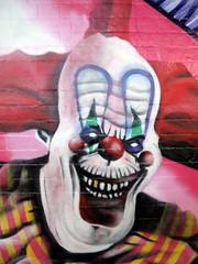 Scary clown graffiti