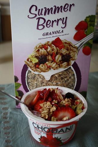 Summer Berry Kashi Granola; Chobani strawberry yogurt