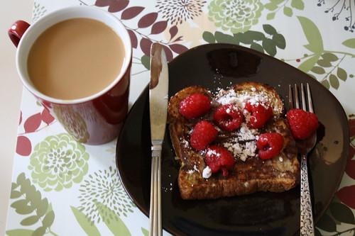 french toast, nutella, raspberries, coffee