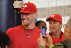 Washington Nationals pitcher Stephen Strasburg greets fans at NatsFest
