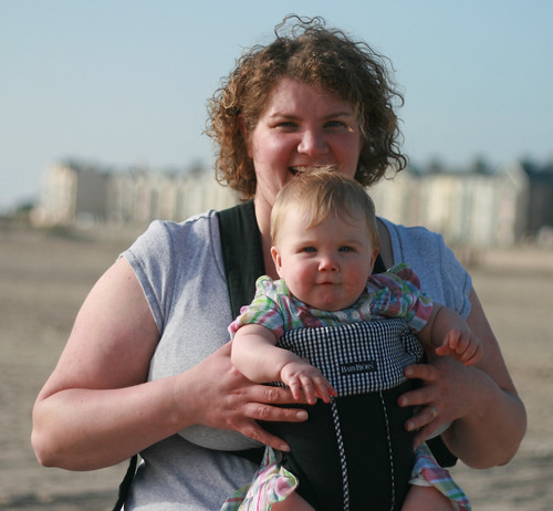 Mommy and Poppy on the beach!