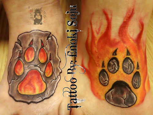 Custom Wolf Paw with Flames Tattoo