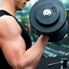 Man doing bodybuilding at gym by NPE Demo Site