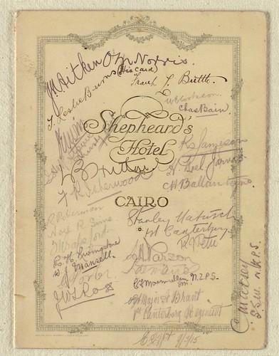 Menu card: Christmas dinner at Shepheard's Hotel, Cairo, 1914