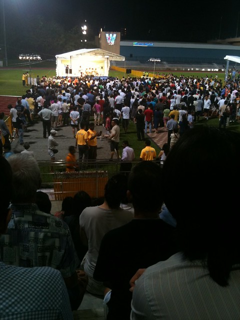 Kenneth Jeyaratnam addressing the crowd at Clementi Stadium.