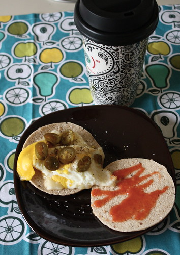 egg sandwich with jack cheese, jalapenos, frank's red hot, coffee