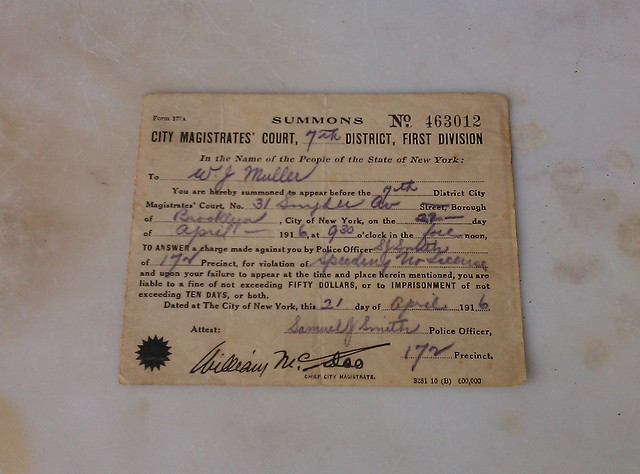 Antique Speeding Ticket