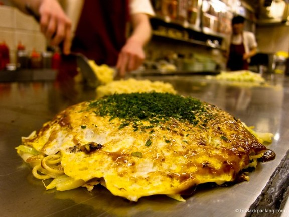 Sitting at the counter, I ate my okonomiyaki right off the griddle.