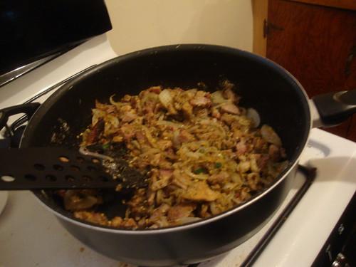 Pork and beans simmering
