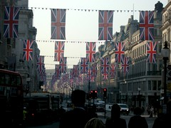 Royal Wedding Flags Go Up On Regents Street, L...