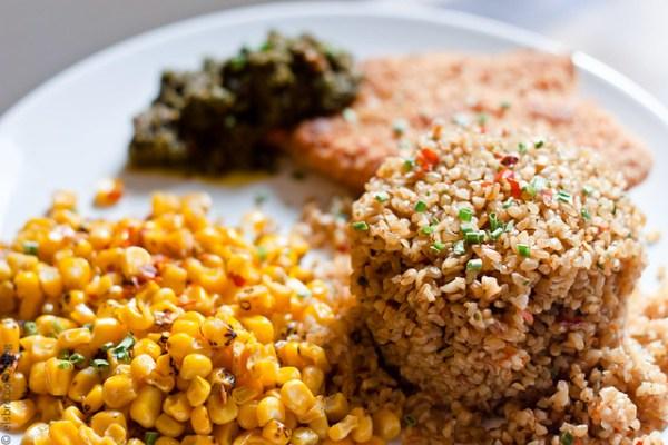 Bulgur, Roasted Corn & Fish w/ Pesto