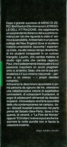 Bret Easton Ellis, Le regole dell'attrazione. Pironti 1988. Risvolto della prima di sovracoperta.