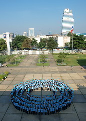 Human blue circle, Bangkok, Thailand