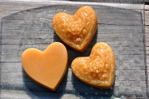 Beeswax hearts on bee dish