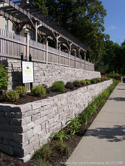 Natural Stone Retaining Wall and Cedar Pergola