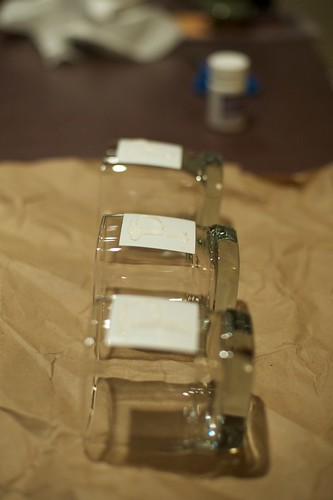Glasses with etching cream