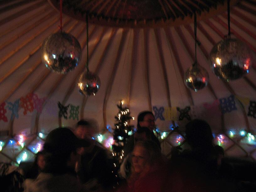Environmental green volunteers gather in the Yurt at Milgi Bar for the first CF Hub meeting