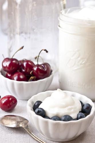 homemade yogurt with fruit tall