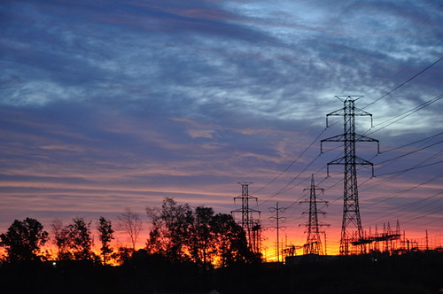 Sunrise over pylons.