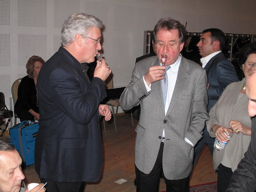 Zukerman and Buchbinder celebrating after concert