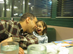 Julianna and Daddy at Denny's