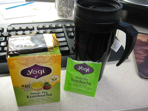 yogi green tea kombucha; dark chocolate