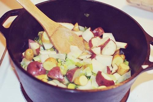 Potato Leek Soup in a Dutch Oven