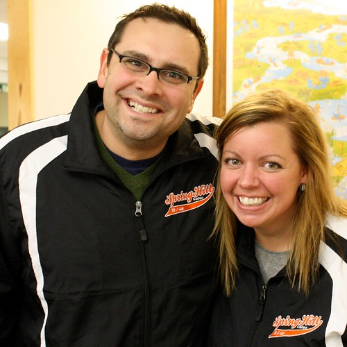 Todd and April- long SpringHill buddies sporting our new track jackets