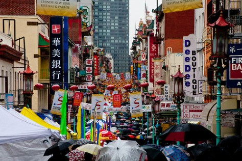 chinatown on a rainy day