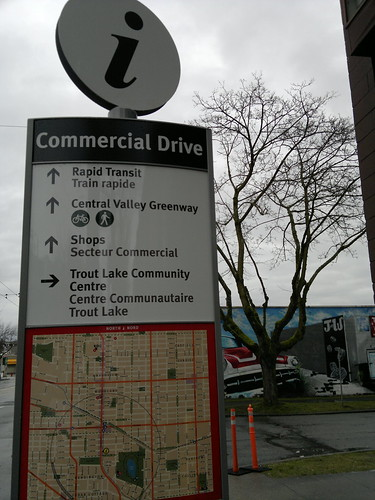 Long over due Rapid Transit, bike path & Trout Lake City of Vancouver  at Commercial and 13th - Sign - 031320113825