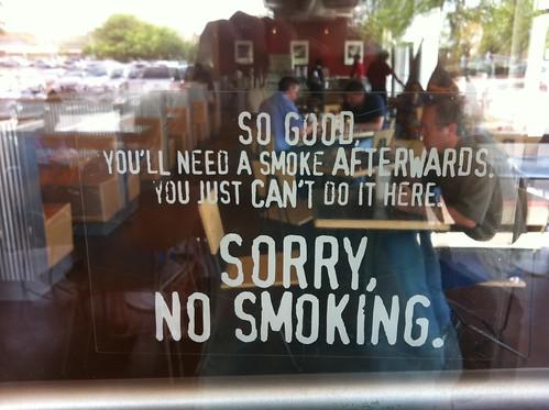 Chipotle no smoking sign