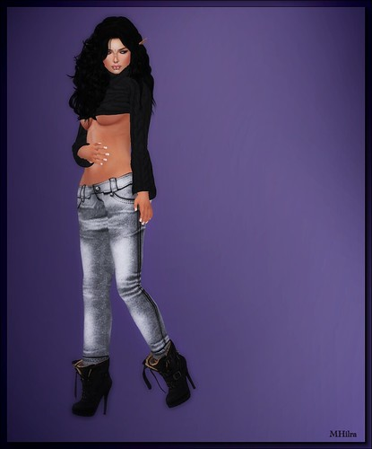 shsl - Bombshell Outfitters - Knit Sweaty black and Jeans grey