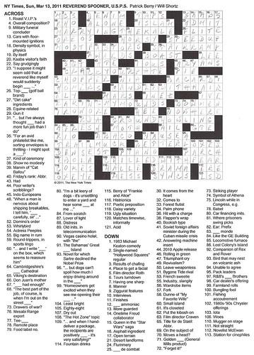 Sunday NYT Puzzle - 3/13/11