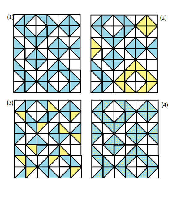 modern half square triangle quilt layouts