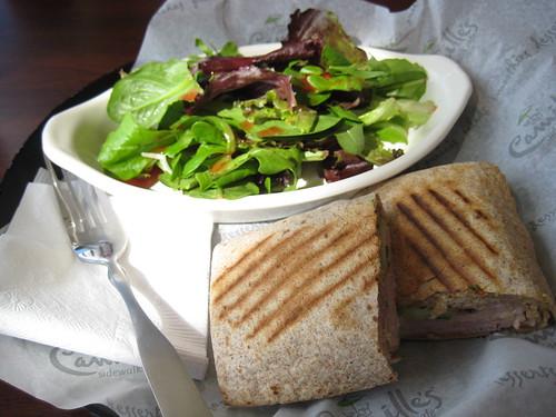Paris Bistro Grilled Hot Wrap, side salad at Camille's
