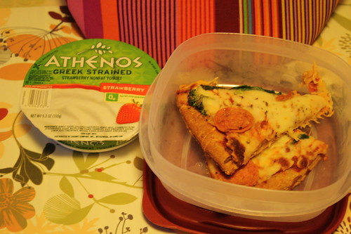athenos strawberry greek yogurt; pizza