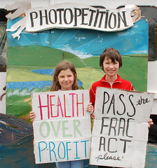 two kids protesting fracking