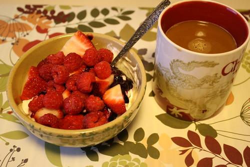 greek yogurt, berries, preserves; coffee